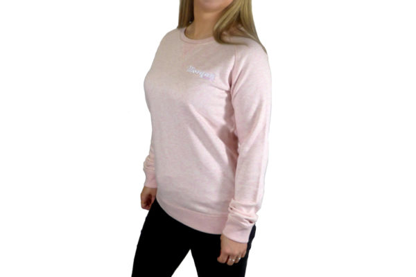 Ladies Heather Pink Sweat Top with Morgan Embroidery -3416