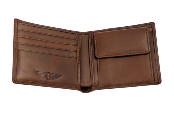 Men's Leather Billfold Wallet With Coin Pocket - Brown-3594