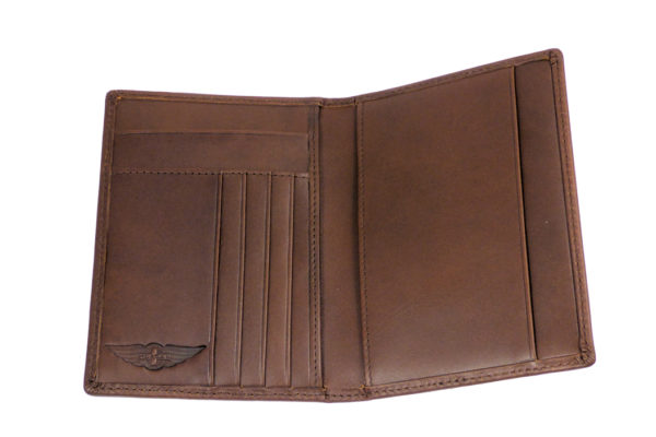 Leather Passport Holder with Card Pockets - Brown-3584