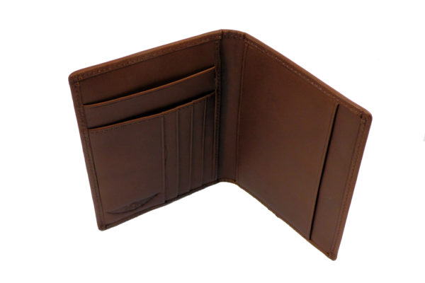 Leather Passport Holder with Card Pockets - Brown-3582