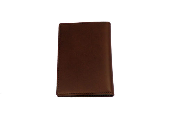 Leather Passport Holder with Card Pockets - Brown-3583