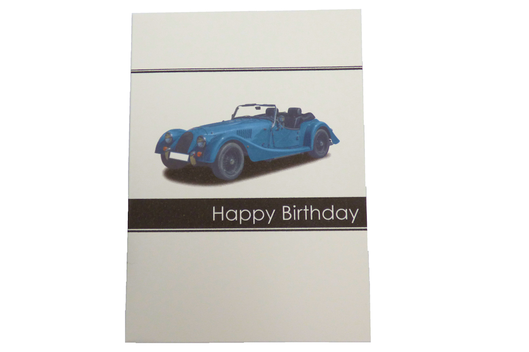 Morgan Greetings Card - Happy Birthday - Blue Car-0