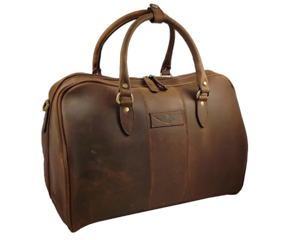 Harry - Medium Leather Holdall embossed with Morgan Wings- Mud Brown-3872