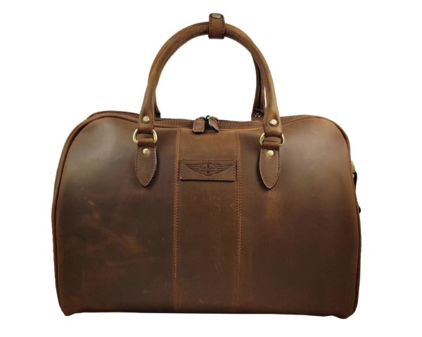Harry - Medium Leather Holdall embossed with Morgan Wings- Mud Brown-0