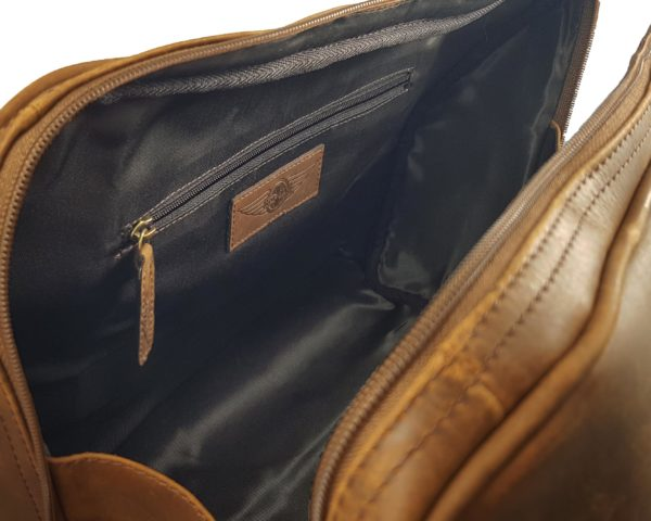 Harry - Medium Leather Holdall embossed with Morgan Wings- Mud Brown-3871