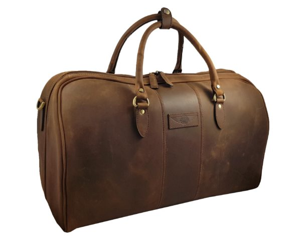 Charles - Large Leather Holdall embossed with Morgan Wings - Mud Brown-3881