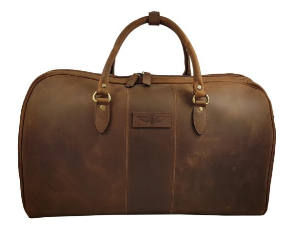 Charles - Large Leather Holdall embossed with Morgan Wings - Mud Brown-0