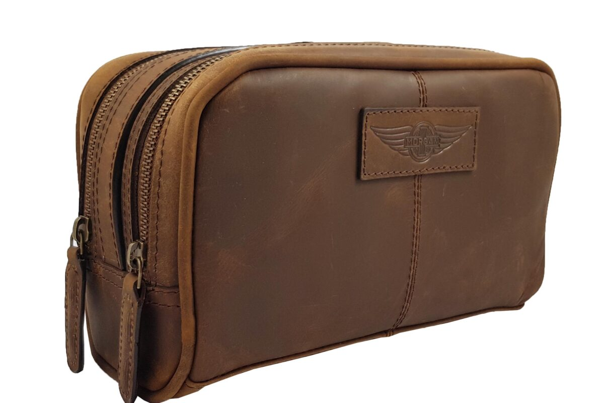 Luxury leather washbag embossed with Morgan wings logo - Mud Brown-0