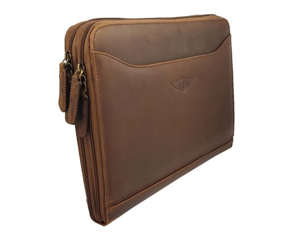 Morgan Double Document Wallet A4 - Brown-3850