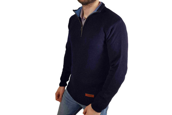 Bailey Zip Neck Jumper - Navy-4004
