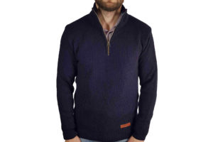 Bailey Zip Neck Jumper - Navy-0