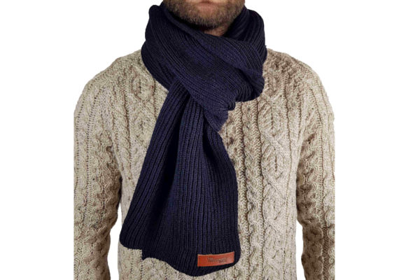 Porter Ribbed Scarf - Navy-0