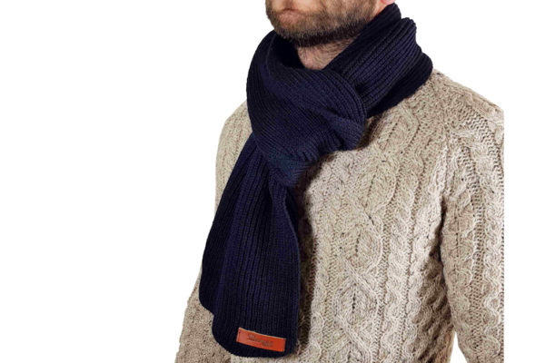 Porter Ribbed Scarf - Navy-4012